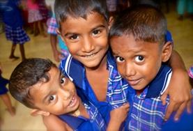 A group of children take part in an educational activites organised by volunteers at our Care & Community placement in Sri Lanka.