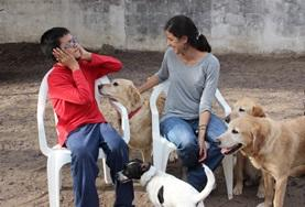 Canine Therapy volunteer and child interacting with dogs in Argentina