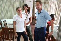Opthalmologist volunteers pose for a picture at a placement in Nepal