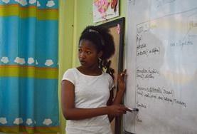 A French teaching volunteer hosts a lesson at a placement in Morocco
