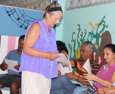 Older volunteer teaching in Ecuador, South America