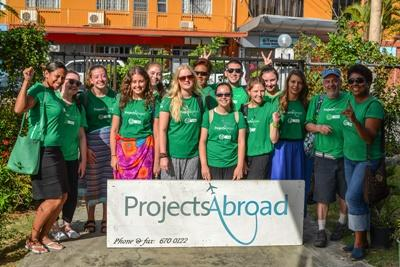 Projects Abroad volunteers and staff pose for a group photo at the office before heading out to the community day at Lautoka Special school